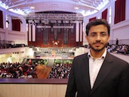 Photo of Ibrahim Saleh Al-Busaidi at Dunedin Town Hall about to receive his BMedSc(Hons) degree