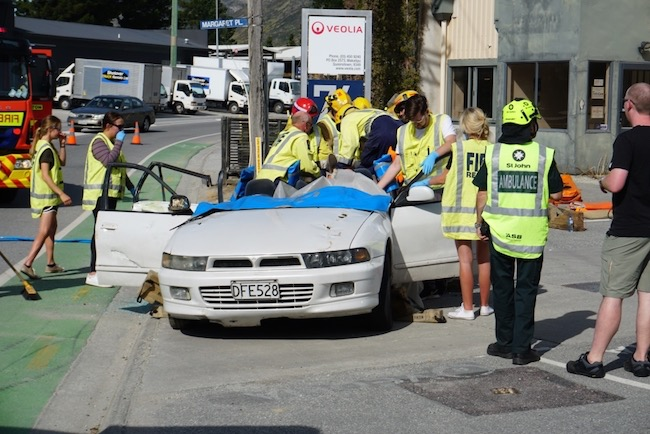 Students, Fire and Ambulance staff at mock accident