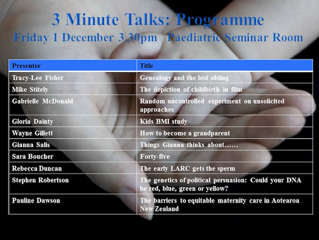 3 Minute Talks Programme