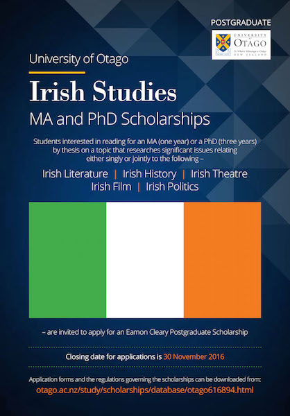 OTAGO Irish Studies MA-PhD Poster