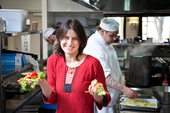 Miranda Mirosa in a kitchen with Food Waste