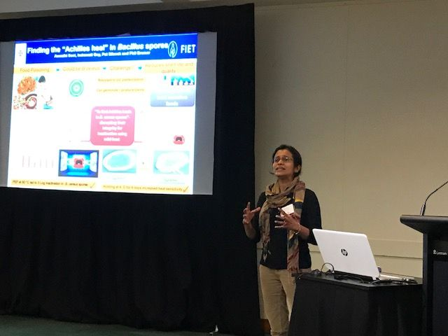 Aswathi Soni presenting poster at NZ Food Safety Conference 2017