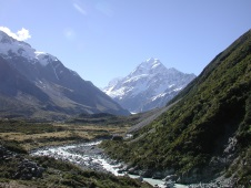 Mt Aoraki scenic view from valley towards mountain