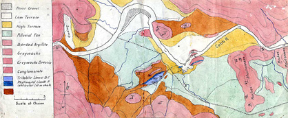 Hand-painted field map made by Benson for the Cobb river valley