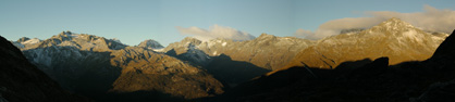 Sunset on schist within the Southern Alps