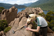 Virginia Toy doing fieldwork on the Anita Ultramafics in Fiordland National Park.