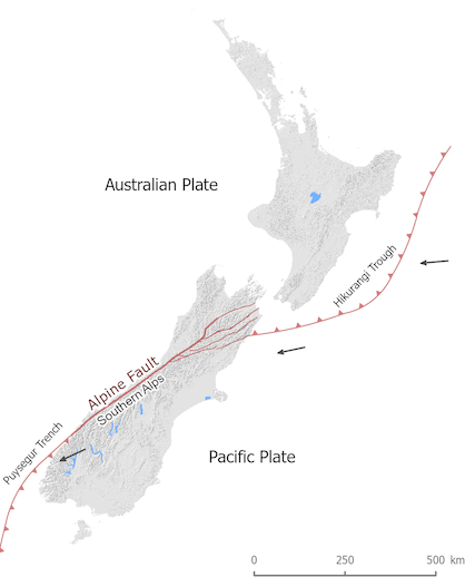 Tectonics setting of New Zealand image, showing the Alpine Fault and the Hikurangi Margin.