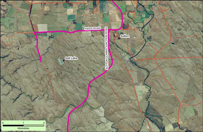 Access to Sutton Salt Lake via SH87 and Kidd's Road (coloured magenta on map)