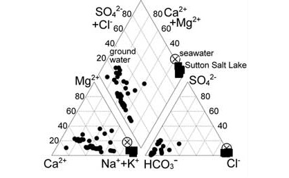 Ternary diagram showing the salt levels to be similar to sea water