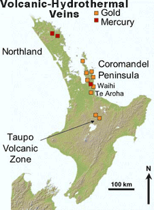 Location of gold and mercury depostis associated with epithermal gold