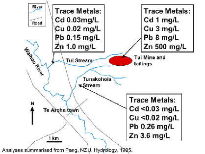 Sketch map showing the Tui Mine site and stream metal contents
