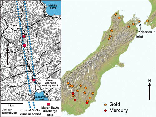 Location of Endeavour Inlet (right), and a detailed map of the area (left)