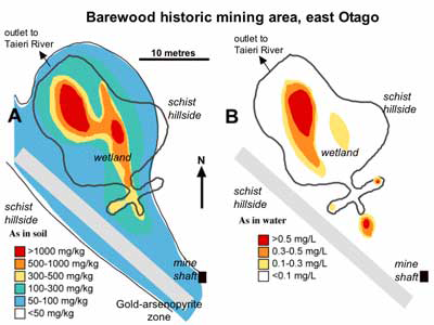 Maps of arsenic concentration in soils (left) and water (right) in the Barewood wetland