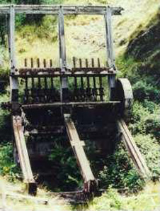 A 10-stamp battery (5 metres high) in the Shotover valley. These large and very heavy machines were carried in to rugged and remote locations and driven by water power. Each of the 10 vertical rods (centre) has a heavy foot which is moved up and down as the wheels turn. Quartz was fed under the rising and falling feet and was crushed