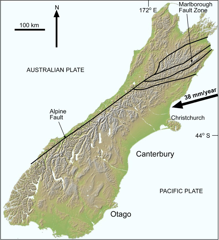 Southern Alps New Zealand Map.Crustal Structure And Topography Of The Otago Northeast Margin