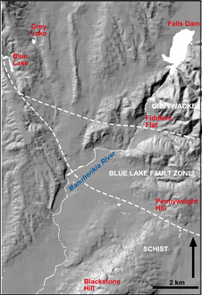 Blue Lake map. The Blue Lake Fault zone, which trends northwest-southeast, seperates Schist from greyacke. Blue Lake is on the north east side of the Fault 226px