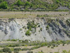 Soft fault gouge zone on a branch of the Blue Lake Fault at Fiddlers Flat. The gouge zone separates well-bedded greywacke and argillite (dark, right) from highly sheared broken formation (photo below). The pale gouge rocks on the left are mainly finely ground argillite with abundant calcium carbonate cement and veins.