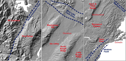 Topographic images from across Otago, showing the variations in effects of young (last few million years) deformation on the flat Waipounamu Erosion Surface. The central panel shows the northeast margin of the schist belt in Central Otago, with smooth schist fold ranges trending northeast into the Blue Lake Fault Zone that juxtaposes schist against faulted and more-dissected greywacke and semischist. Farther west (left panel), the smooth ranges dominated by the Waipounamu Erosion Surface terminate with the Pisa Range at the Nevis-Cardrona Fault, and rugged schist mountains to the west of this fault have the erosion surface totally removed. Near the east coast (right panel), the Waipounamu Erosion Surface has been offset by faults, with the most prominent faults indicated. Between these faults, the flat erosion surface is largely preserved, as on the Barewood Plateau, although locally dissected. Fold ranges dominate topography inland of Middlemarch.