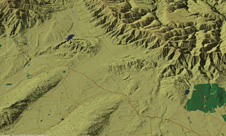 Oblique digital terrain model (compiled by [www.geographx.co.nz]) of the structurally complex intersection zone of northeast and northwest ranges on the northeast margin of the Otago Schist belt. Naseby alluvial gold mining area (green forest) is at centre right, Wedderburn is close to the left of this forest, Oturehua is at centre, and St Bathans is at upper left. Smooth-topped schist fold ranges have steep southeastern slopes above active faults. Eroded fault scarps of the greywacke ranges face into central Otago, with flat tops and gentle slopes of the preserved Waipounamu Erosion Surface on the Canterbury side.