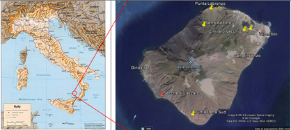 SLP outcrops scattered on Stromboli island; in red the type locality.