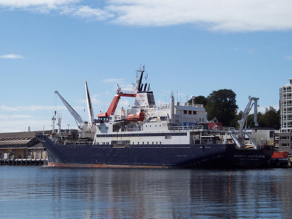 Figure 1: R/V Marion-Dufresne II about to embark on the MD 152/MATACORE -Tectonic and climatic controls on sediment budget- cruise (Hobart, Tasmania – Auckland, NZ) (January 24-February 6, 2006).