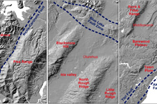 Topographic images from across Otago, showing the variations in effects of young (last few million years) deformation on the flat Waipounamu Erosion Surface 226px