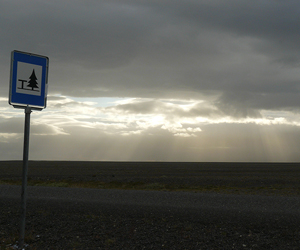 A pleasant rest stop on the vast glacial outwash planes Skeidararsandur, Southern Iceland.
