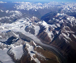The glacial highway is in full view flying above the Himalayan peaks of northern India.