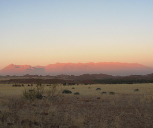 The Brandberg massif - an early Cretaceous granitic intrusion in Damaraland, Namibia. The red colour at sunset gives it its name which means Fire Mountain in Afrikaans.