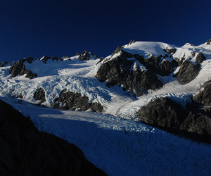 Rising mountains: the early morning view from Crawford Knob, above the Franz Josef Glacier