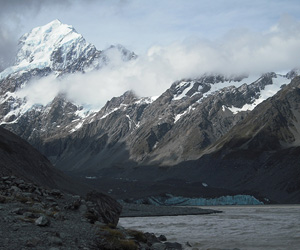 Christmas at Aoraki: mountain, moraine and glacier. 75 kph gale (not pictured) was an uninvited guest.