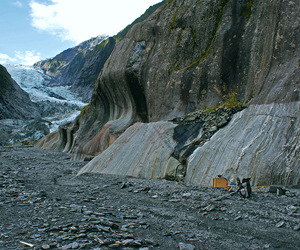 A seismic survey below the Franz Josef glacier. One of the more scenic and busy field locations to visit.