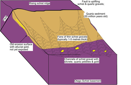 Three-dimensional sketch of a typical portion of the lower Manuherikia valley margin, showing uplift of a bedrock schist ridge along a fault, and partial erosion of 20 million year old quartz sediments and schist to form channelized gravel deposits at the base of the slope. Gold and silcrete accumulate in the young (less than 100 000 year old) gravels.