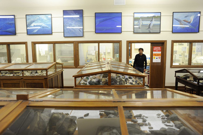 The Geology Museum and paleo prep Lab. Gabrielle Aguirre Fernandez stands in the doorway.