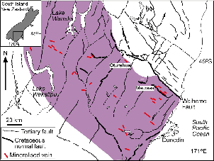Gold bearing Veins in the Otago Schist. The Otago schist covers a roughly 150-200km band with its center on Dunedin and extending in a NW-SE direction inland. Gold veins are indicated as 5-10km features with a NW-SE trend.