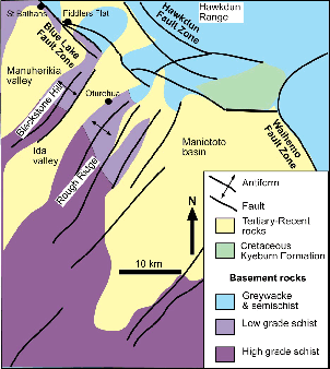 Otago North East regional geology. From south west to northeast the transitions are high-grade schist to low grade schist to greywacke and semischist. Faults trend in north-east/southwest and northwest/southeast directions.