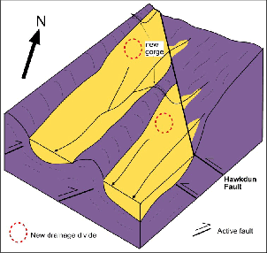 Sketch block diagram of the modified river drainage pattern after diversion of some of the rivers as the northeast trending folds become tighter and extended farther northeast. Uplift in the basins forces rivers to divert through gorges in adjacent basement ridges.