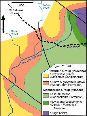 Geological map of the Blue Lake Fault Zone cutting sediments downstream of the Fiddlers Flat gorge of the Manuherikia River.