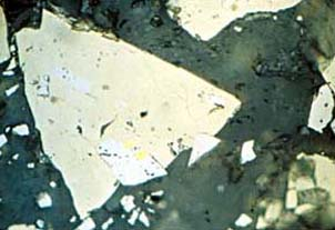 Whataroa vein gold. Fine grained gold particle (about 1100th of a millimetre across, in center of picture) as seen under a microscope. The gold is totally enclosed in pyrite (pale yellow)
