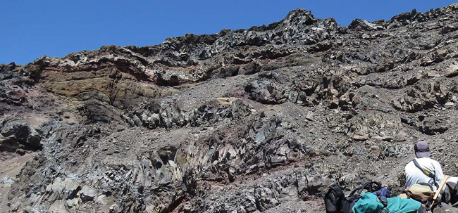 Andesitic lavas with irregular geometries and complex jointing patterns, Whangaehu Valley, Ruapehu.