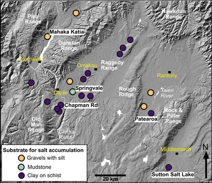 Topographic image of Central Otago, showing some of the principal localities for remnants of saline substrates