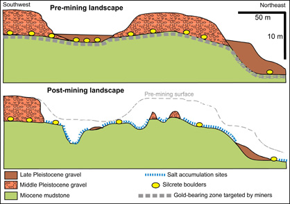 Cross sections through the Springvale site, showing the original gravel cover and topographic surface (top) and the present situation with the gold-bearing gravel removed and the mudstone exposed.