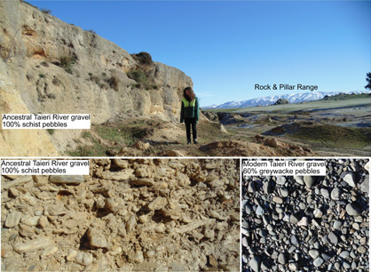 Photographs of gravels deposited by the ancestral Taieri River at the southern end of what is now the Strath Taieri basin.