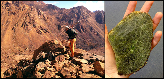 Left: Field work at Red Mountain (mantle section of ophiolite complex), Right: Cut lherzolite xenolith from Otago.