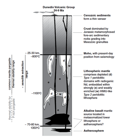Fig. 2. Schematic section through the crust and lithosphere beneath the Dunedin Volcanic Group, illustrating the different mantle domains. Figure from Dalton et al. (2017).