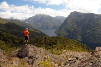 Tom Dwight surveys the Broughton Arm Peridotite in central Fiordland.