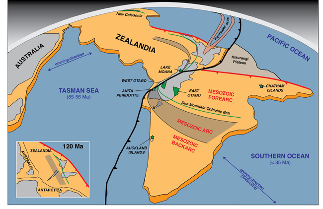 Fig. 1. The continent of Zealandia, with some of the ultramafic mantle localities indicated.