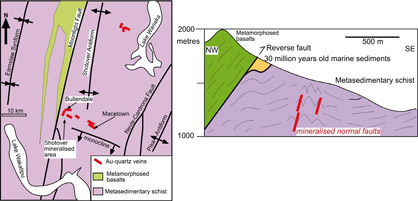 Map and cross section of gold-bearing quartz veins formed in the Otago mountains soon after emergence from beneath the sea about 25 million years ago. Erosion of gold from these veins contributed to the rich alluvial gold deposits of the Shotover and Arrow Rivers.