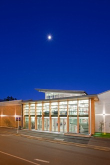 Exterior photo of the Hunter Centre at night
