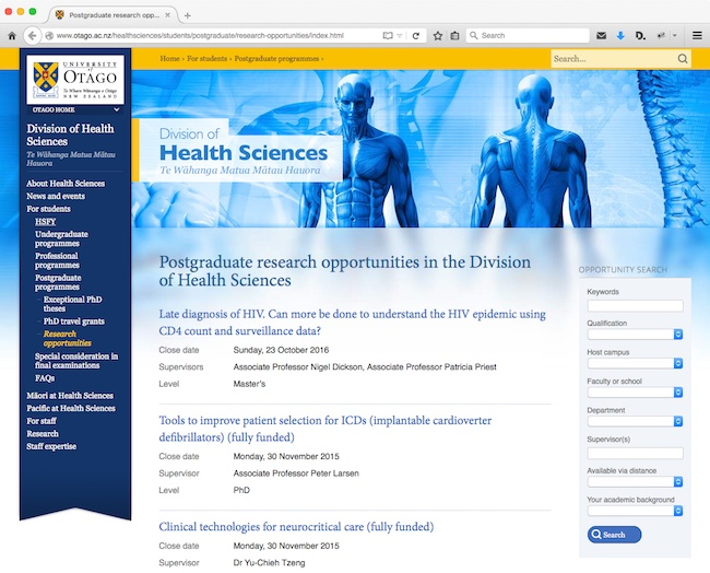 Health Sciences Postgraduate Research Opportunities Database Screenshot